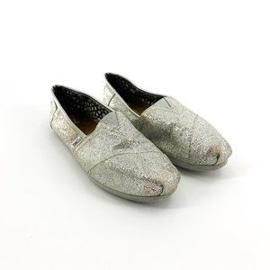 Toms Silver Metallic Slip On Loafers